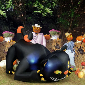 Giant Creeping Inflatable Black Cat with LED Lights