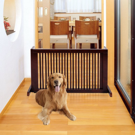 Folding Adjustable Free Standing 3 Panel Wood Fence For Pets