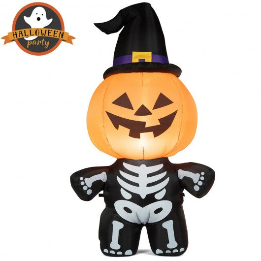 Halloween Inflatable Pumpkin Skeleton Lantern with Witch Hat