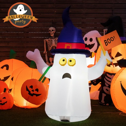 Halloween Inflatable Ghost Light with Flag Hat Bag