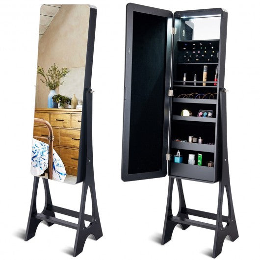 LED Jewelry Cabinet with Bevel Edge Full Size Mirror