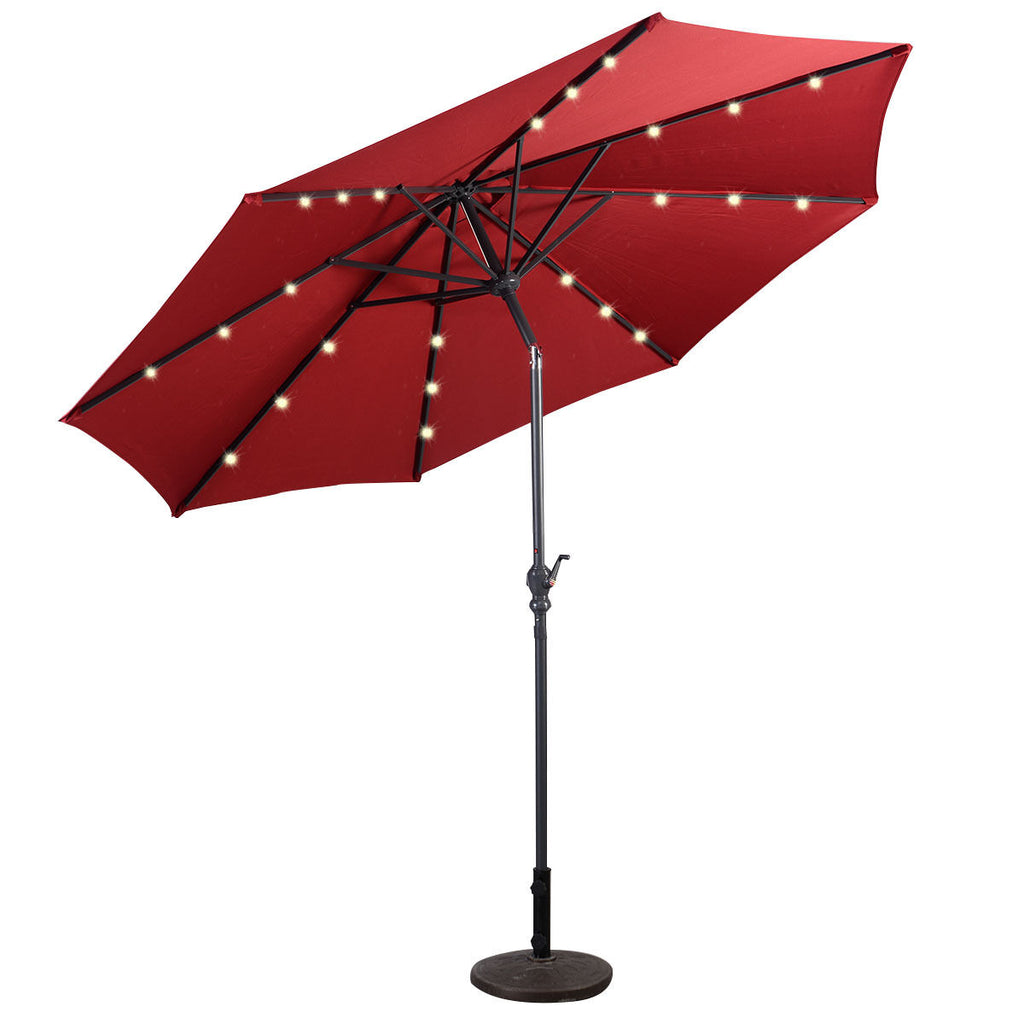 10FT Patio Solar Umbrella LED Patio Market Steel Tilt W/ Crank Outdoor New-Burgundy