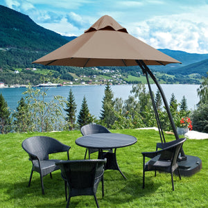11 Feet Outdoor Cantilever Hanging Umbrella with Base and Wheels-Tan