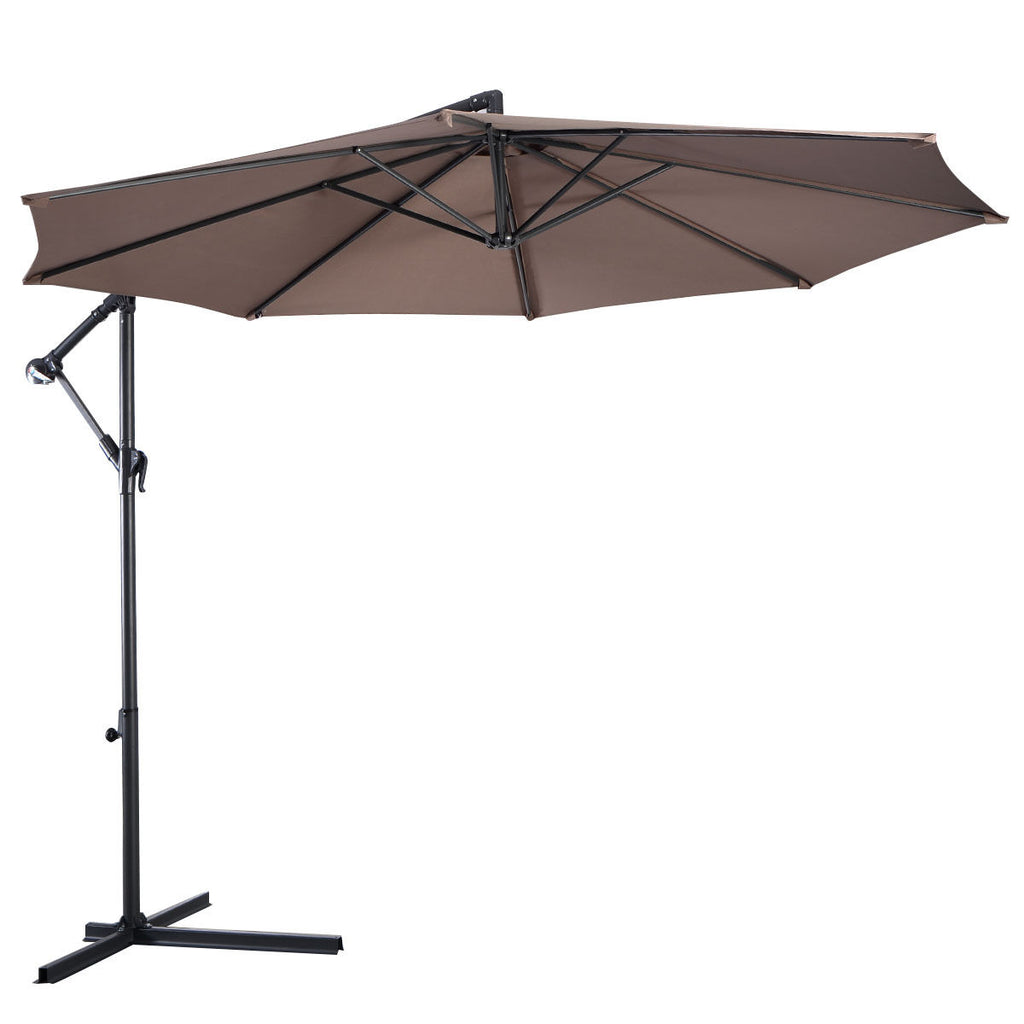 10' Hanging Umbrella Patio Sun Shade Offset Outdoor Market W/T Cross Base GOPLUS