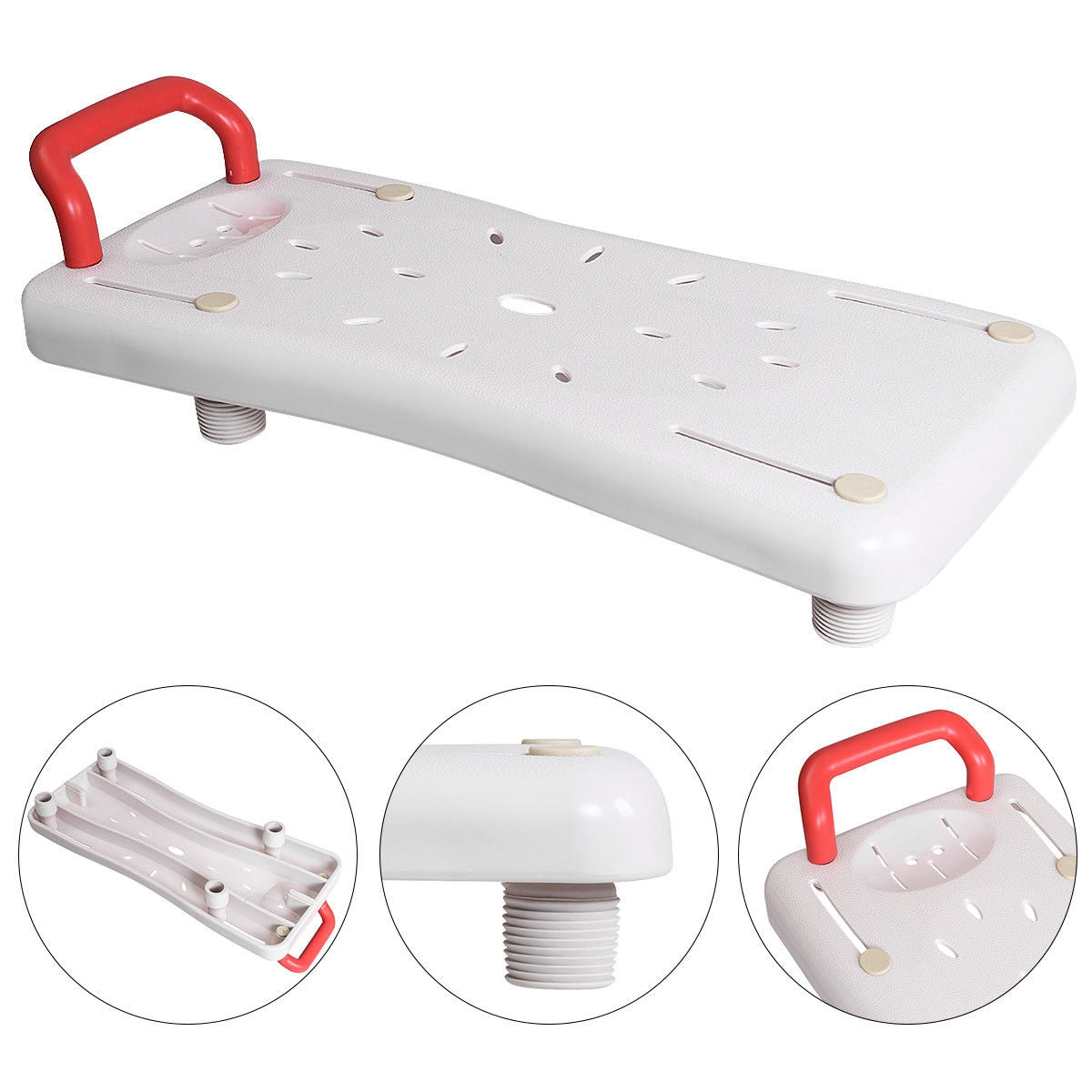 Width Adjustable Portable Bathtubs Shower Bench Seat with Plastic