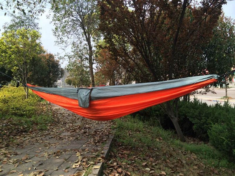 Double Person Hammock Travel Sleep Swing Camping Outdoor Parachute Nylon Fabric-Orange+Gray