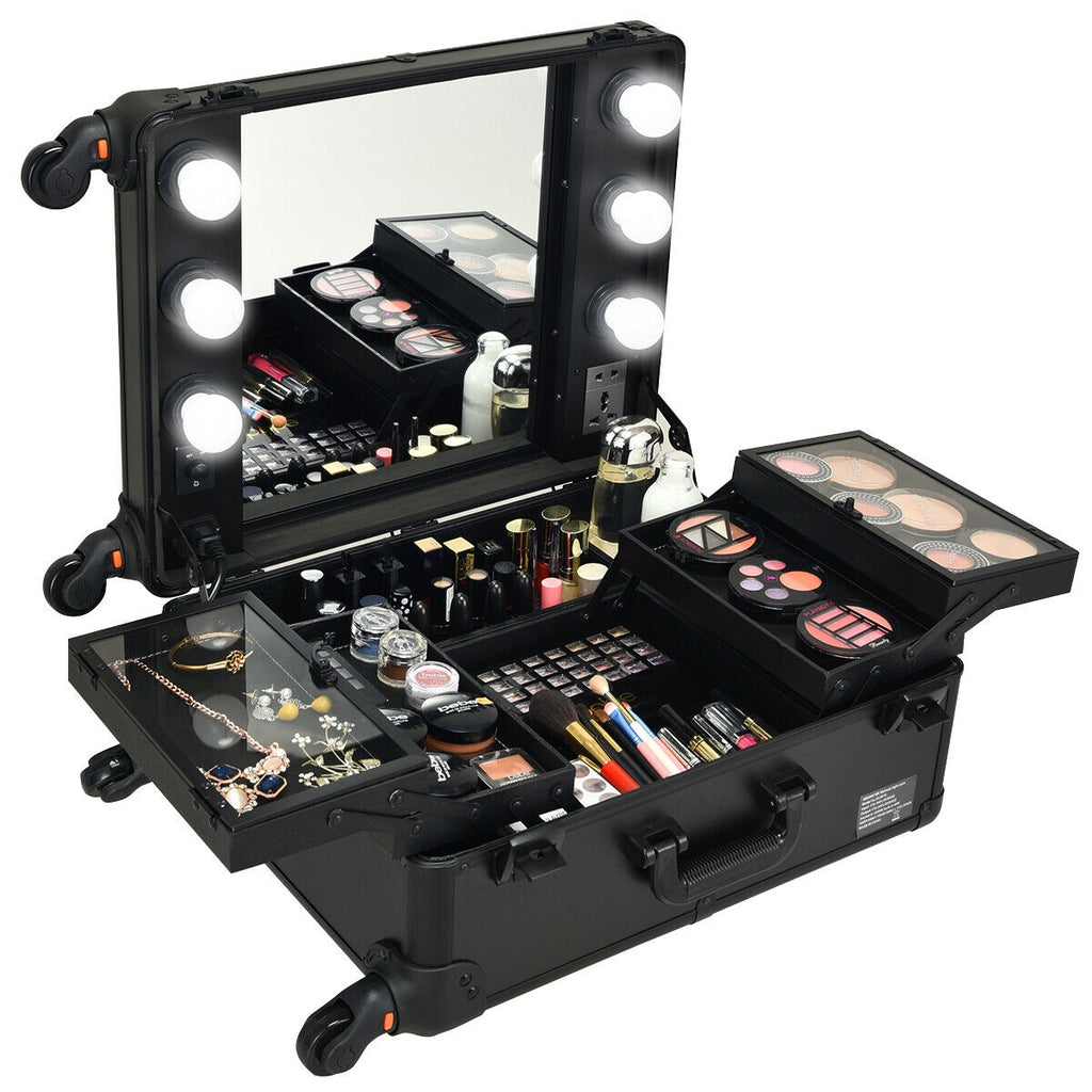 Studio Artist Train Rolling Makeup Case Light Wheeled Organizer-Black