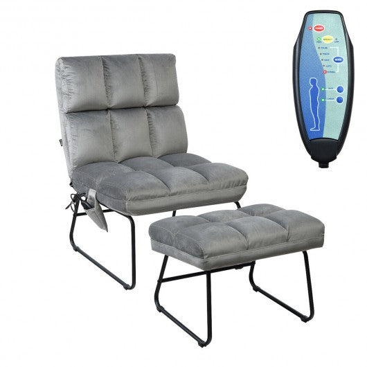 Electric Velvet Massage Chair with Ottoman & Remote Control