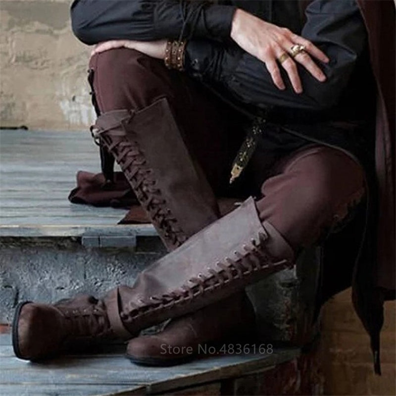 Female Knee High Cotton Boots | The Medieval Store