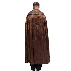 Brown Long Cape Velvet Fur | The Medieval Store