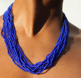 Hand crafted, royal blue, beaded , statement necklace, glass beading and hypoallergenic, handcrafted, deep sea blue, the bali bead , Lillian daniels