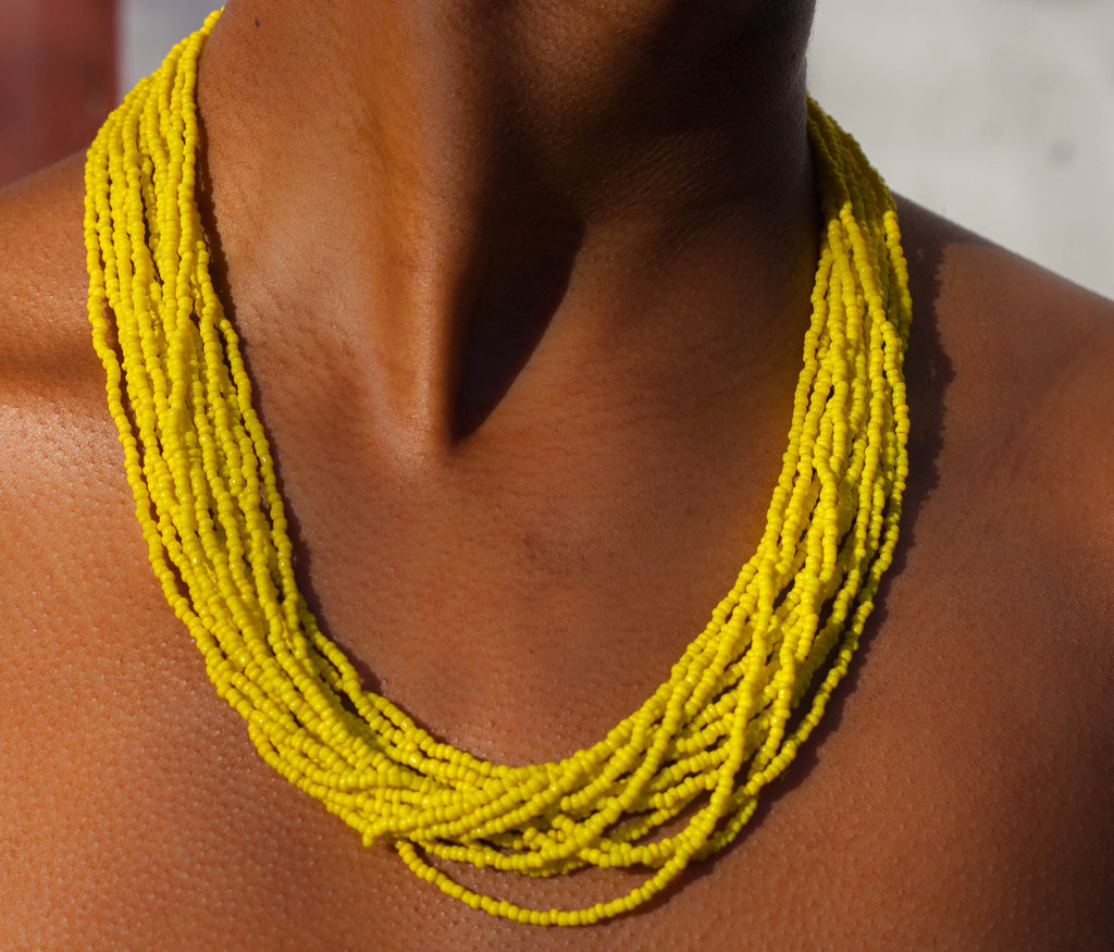 Hand crafted, royal blue, beaded , statement necklace, glass beading and hypoallergenic, handcrafted, yellow, sunny yellow, the bali bead , Lillian daniels