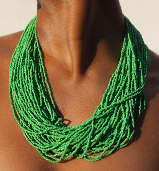 Hand crafted, grass green, beaded , statement necklace, glass beading and hypoallergenic, handcrafted