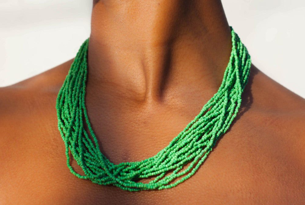 Hand crafted, royal blue, beaded , statement necklace, glass beading and hypoallergenic, handcrafted, grass green, the bali bead , Lillian daniels