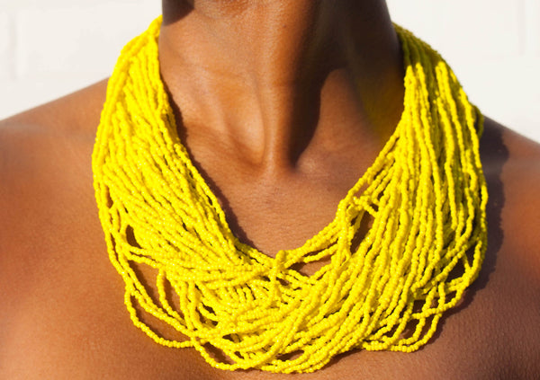 Hand crafted, yellow, beaded , statement necklace, glass beading and hypoallergenic, handcrafted