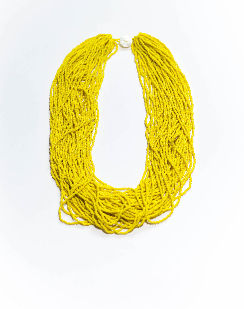 Sunny Yellow -  The Statement Bali Bead Necklace