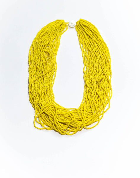 Sunny Yellow - Statement glass bead necklace