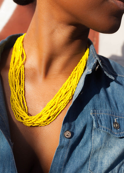 Sunny Yellow - Original glass bead necklace