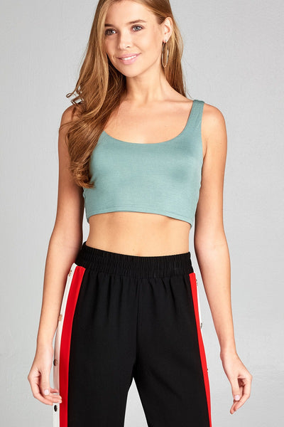 Sleeveless Double Scoop Neck Two Ply Crop Rayon Spandex Top