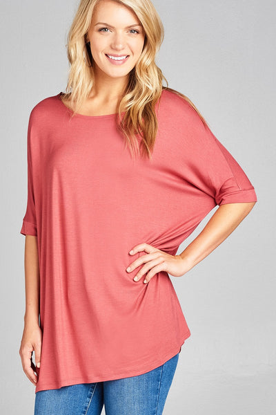 Elbow Sleeve Round Neck Rayon Spandex Jersey Tunic Top