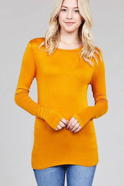 Long Sleeve Crew Neck Top Rayon Spandex Jersey Top