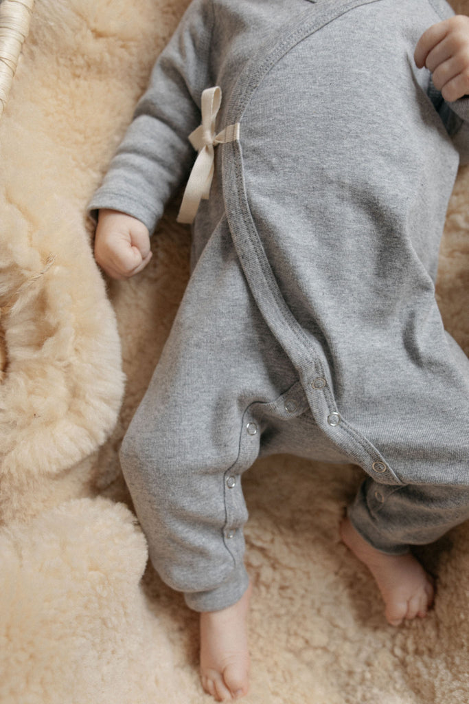 Noé Wrap Onesie - Heather Grey