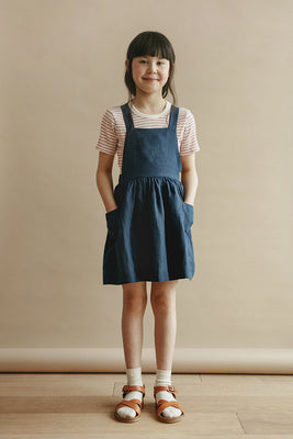 Inès Pinafore Dress - Navy