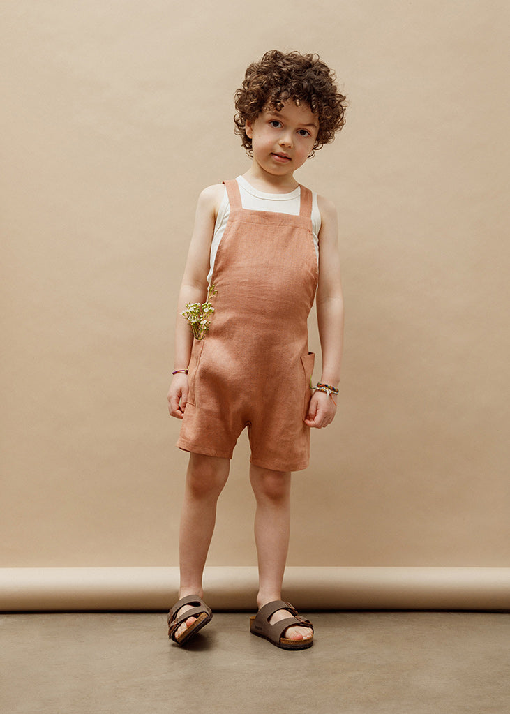 Gabriel Short Overalls - Baked Clay