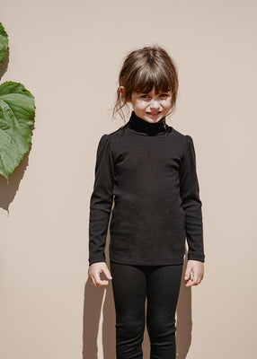 Clémence Puff-Sleeve Turtleneck - Black