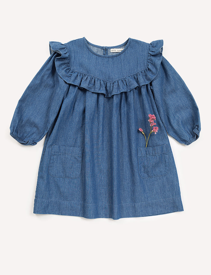 Anouk Ruffle Dress - Indigo