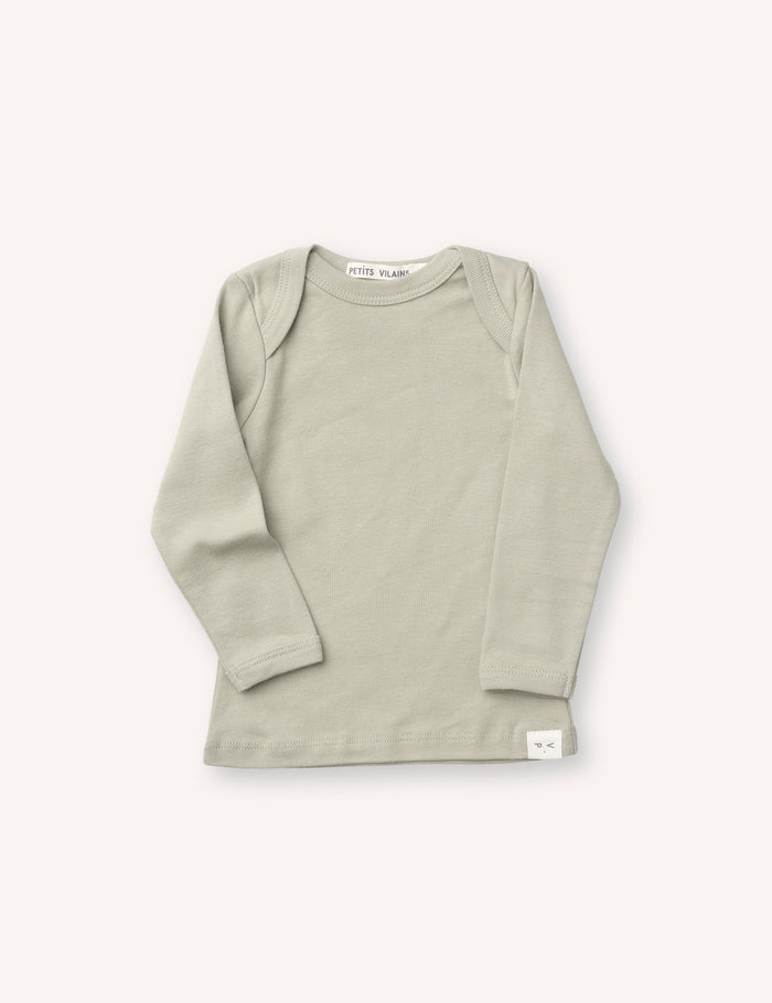 Lilou Long Sleeve Envelope Tee - Green Tea