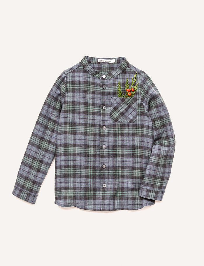 Roman Stand Collar Shirt - Green Plaid