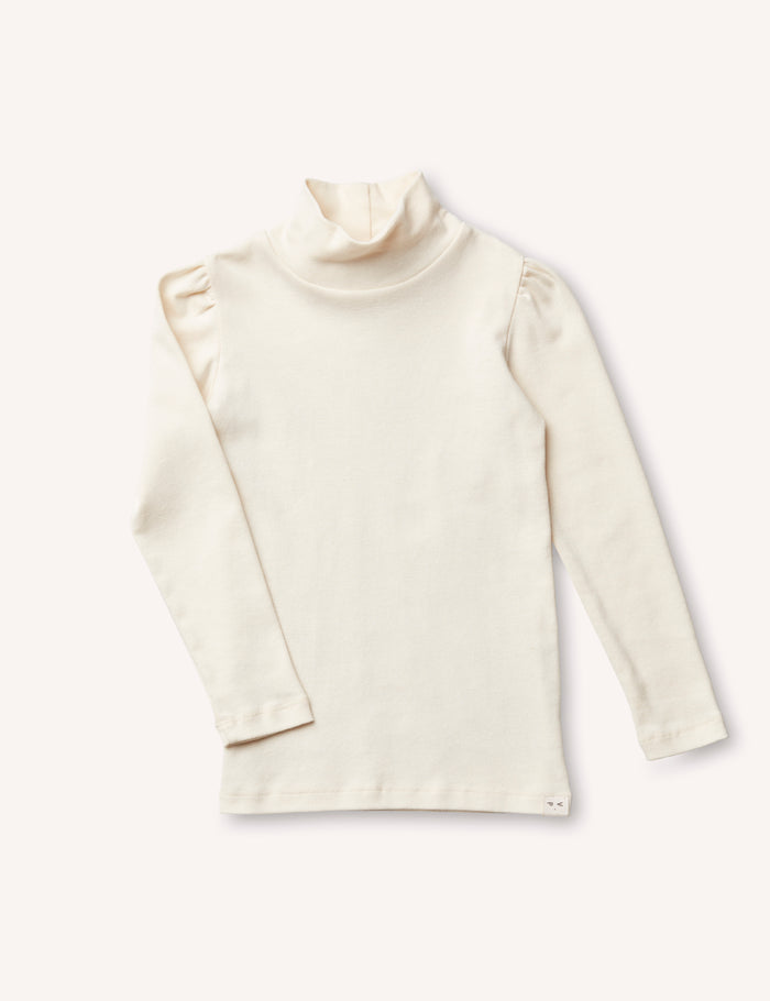 Clémence Puff-Sleeve Turtleneck - Cream