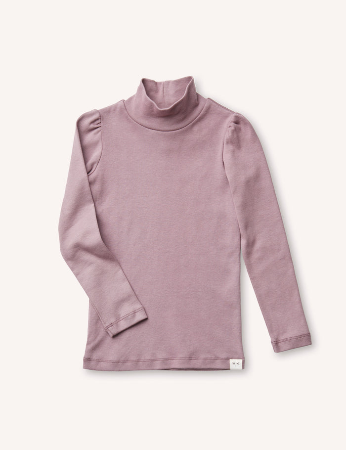 Clémence Puff-Sleeve Turtleneck - Mauve