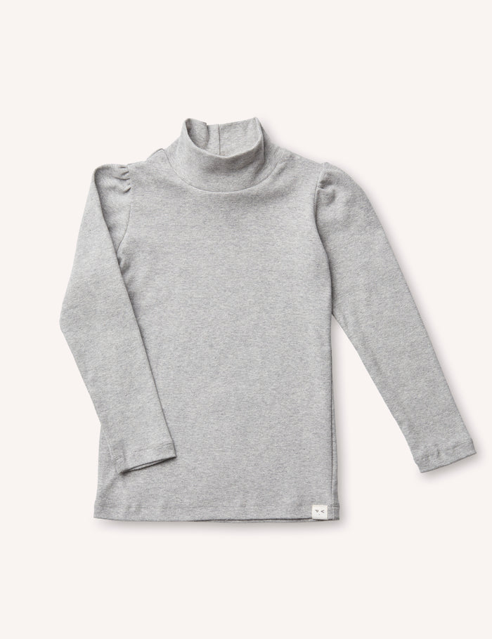 Clémence Puff-Sleeve Turtleneck - Heather Grey