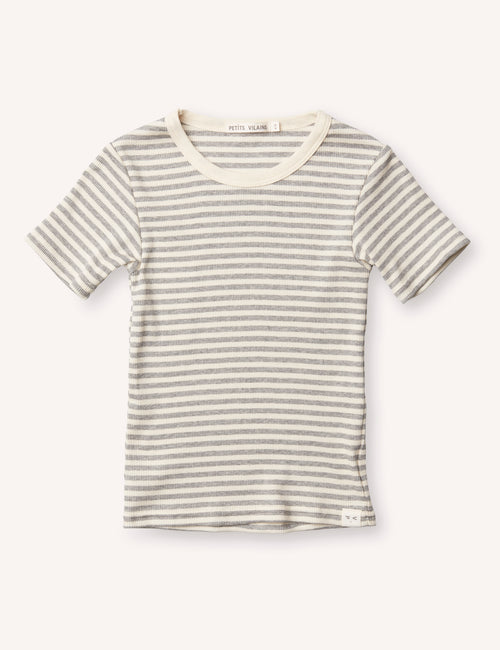 Pascal Slim Tee - Grey/Cream Stripe