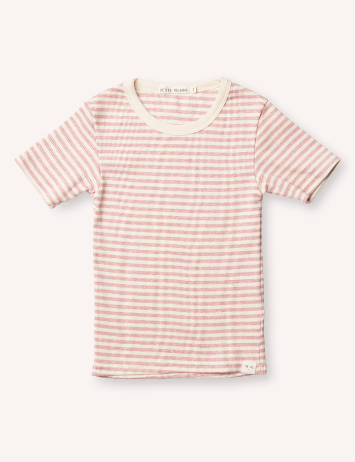 Pascal Slim Tee - Pink/Cream Stripe