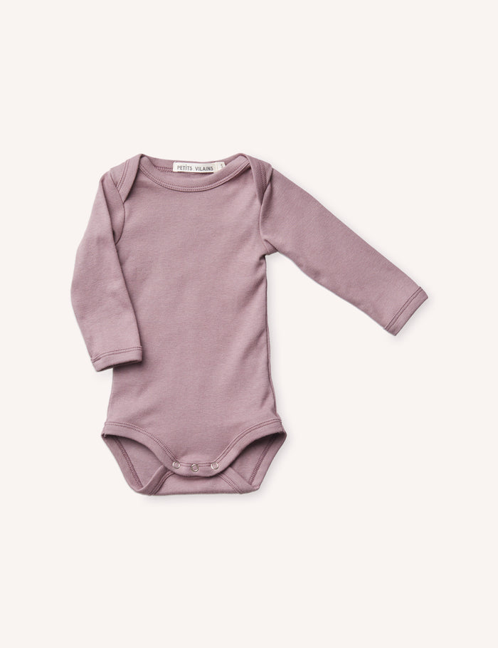 René Long Sleeve Envelope Onesie - Mauve