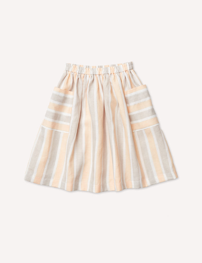 Agnès Midi Skirt - Peachy Stripe
