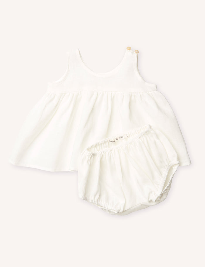 Sophie Babydoll Dress with Matching Bloomer - Oyster