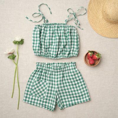 Monique Bubble Top - Green Gingham