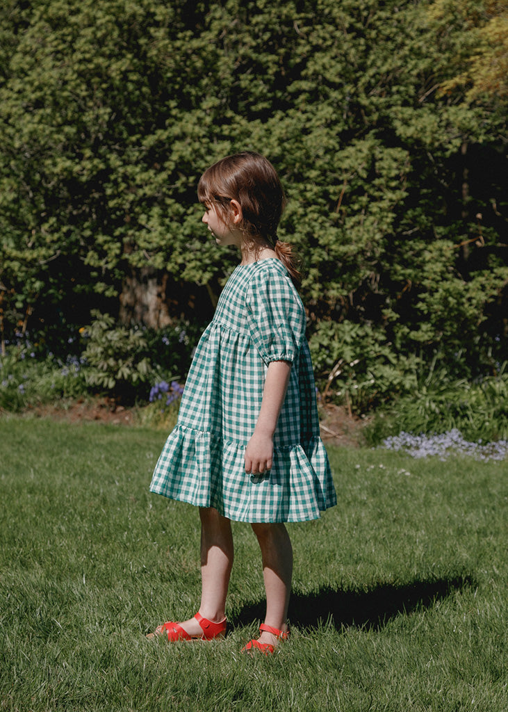 Clementine Puff Sleeve Dress - Green Gingham
