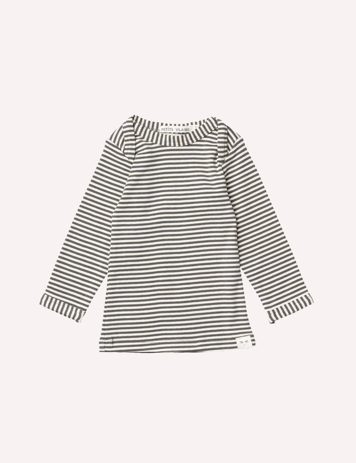 Lilou Long Sleeve Envelope Tee - Charcoal Mini Stripe