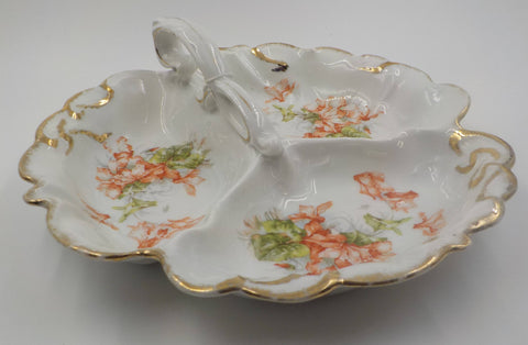 Beautiful - Large - 3 Section Serving Dish - Serving Dish - Porcelain - Gold Gilded - Orchids - Vintage -1950s  Pristine- Mid Century Modern