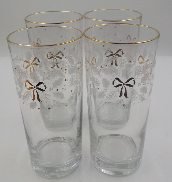 Vintage Set of 4 - Festive 16 Ounce Tumblers - Glasses - Gold Gilded Accents - Bows - Superb Condition - Vintage Glassware - Christmas Gift