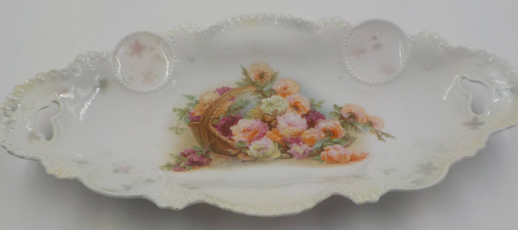 Antique RS Prussia Porcelain Relish Tray - Dresser Tray - Roses - Gorgeous - Late 1800- Early 1900 - Superb Condition-Shabby Cottage