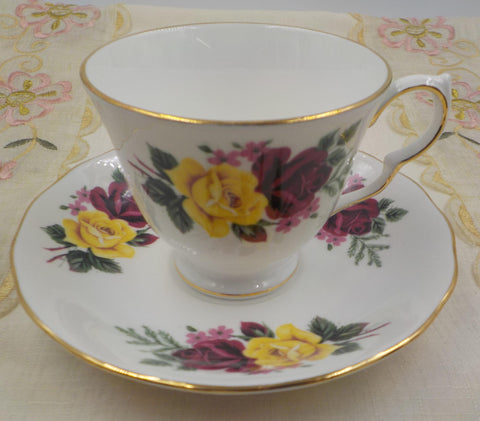 Queen Anna -Vintage Bone China Teacup and Saucer  - Made in England- Roses - Shabby Cottage - Collectible