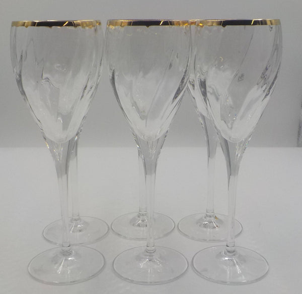 6 Crystal Wine Glasses - Crystal Barware - Gold Gilding - So Chic