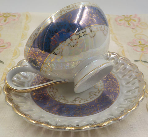 Porcelain Tea Cup and Saucer - Gold Gilding - Pierced Saucer - Tea Cup Lovers Gift