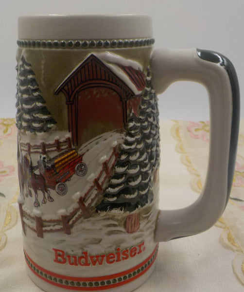 Vintage Beer Stein - Clydesdales and Covered Bridge - Collectible Stein - Beer Lovers Gift